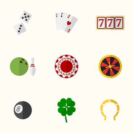 Casino and Gambling Flat Icons for Web and Mobile Applications. Vector