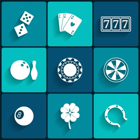 Casino and Gambling Flat Icons for Web and Mobile Applications