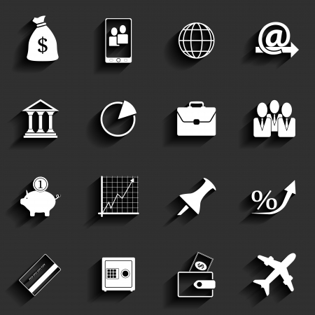 Office and Business Vector Flat Icons Illustration