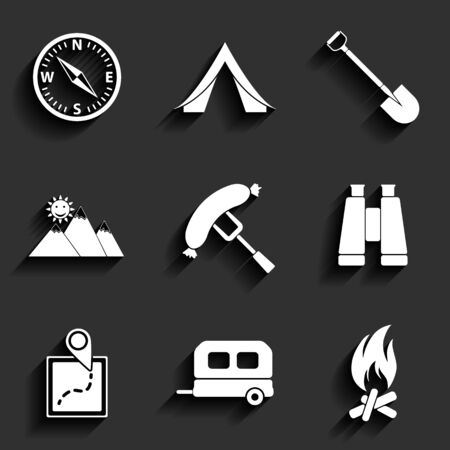 Camping flat vector icons set Vector