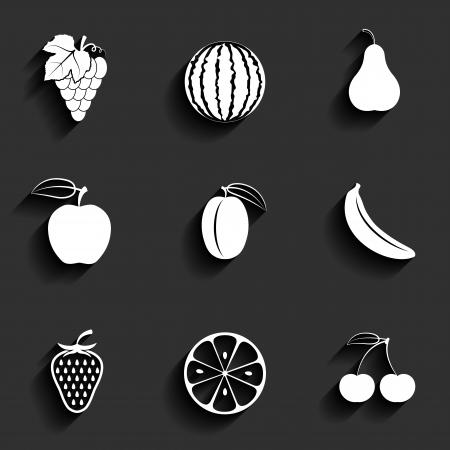 Vector fruits flat icon set Illustration