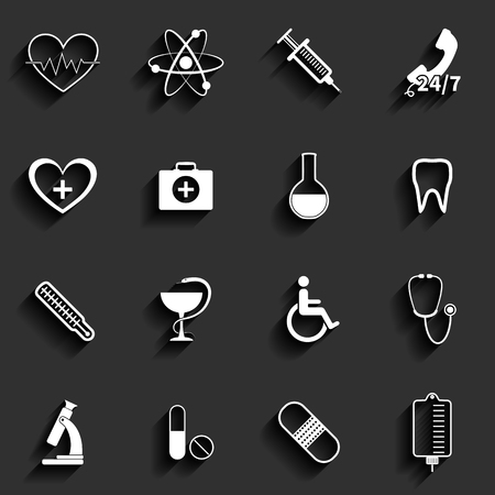 Medical vector flat icons set Stock Vector - 24206498