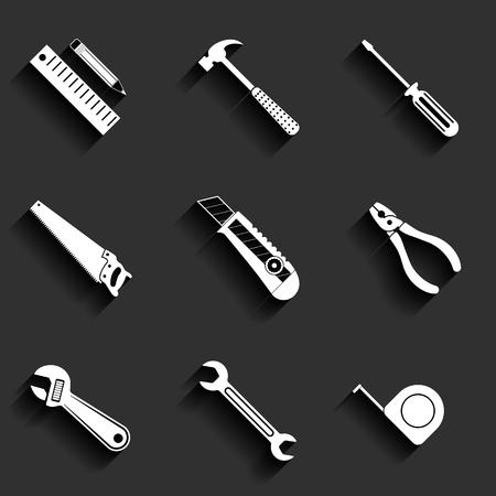 Tools flat vector icons set Illustration