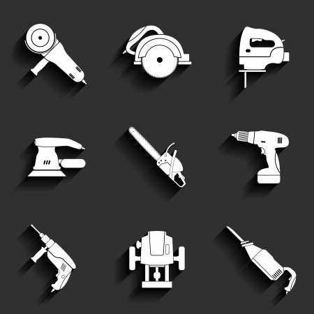 sander: Electric tool flat vector icons set Illustration