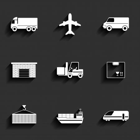 V�hicule, transport et logistique ic�nes vectorielles plats.
