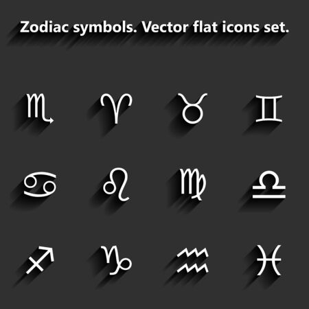 Signs of the zodiac. Vector flat icons Vector
