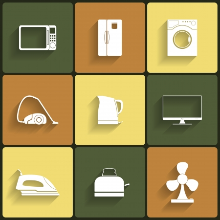 Set of household appliances vector icons Illustration