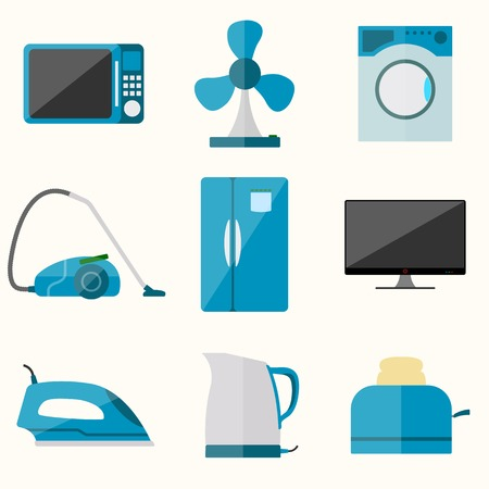 iron fan: Set of household appliances vector icons Illustration