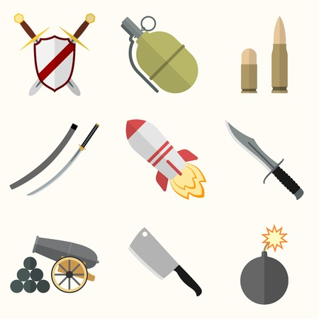 Weapon vector icon set Vector