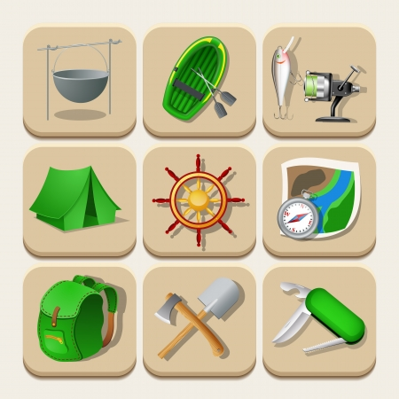 Camping color icons. Vector illustration Vector