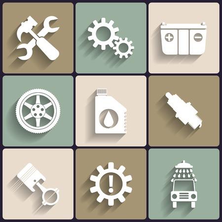 Car service maintenance vector flat icon set. 向量圖像
