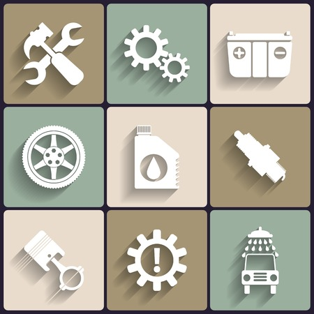 Car service maintenance vector flat icon set. Vector
