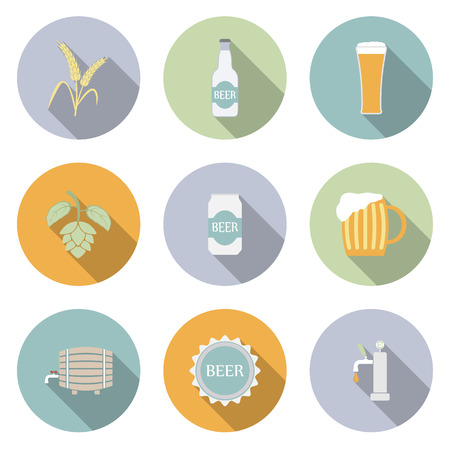 Beer Vector Flat Icons for Web and Mobile Applications Vector