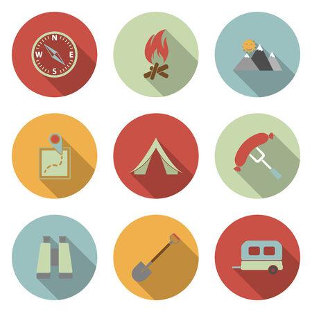 Camping flat vector icons set Vector