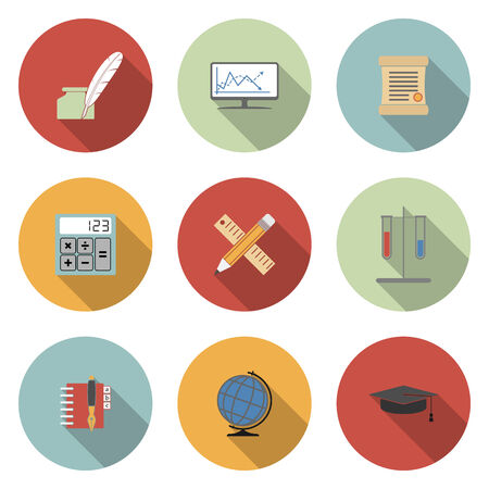 School and Education Vector Flat Icons Set Vector