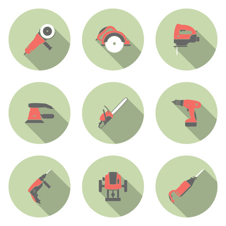 jig saw: Electric tool flat vector icons set Illustration
