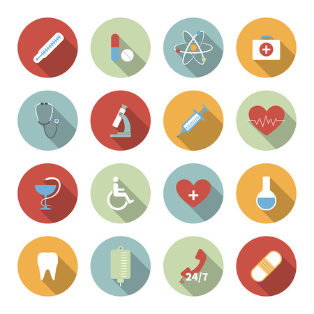 Medical vector flat icons set Vector