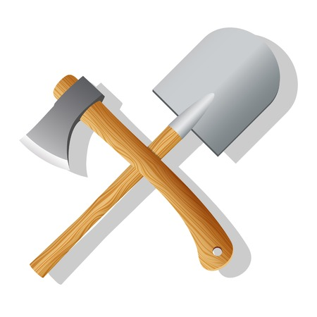 implements: Spade and ax. Vector illustration Illustration