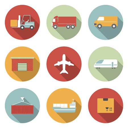 ship parcel: Vehicle, transport and logistics vector flat icons.