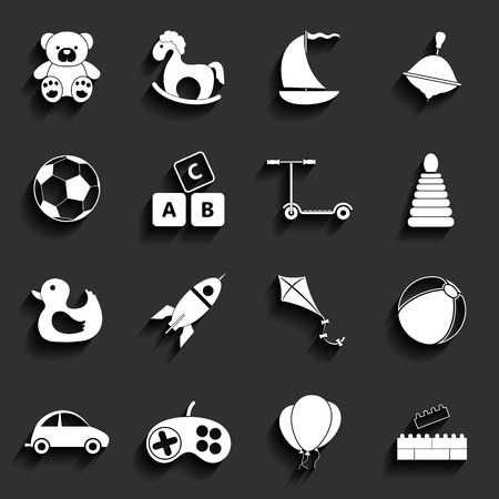 juguetes de madera: Juguetes vectoriales Piso Icons