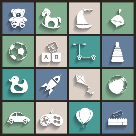 Toys Vector Flat Retro Icons Vector