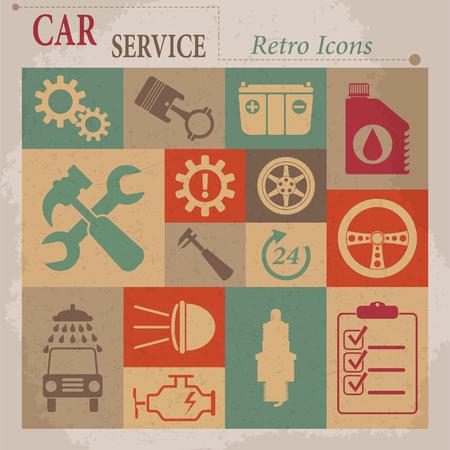 Car service maintenance vector flat retro icons  Illustration