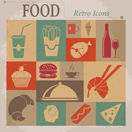 fruitcakes: Food Flat Vector Retro Icons