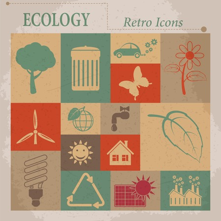 Ecology vector flat retro icons Vector