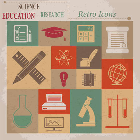 pencil symbol: School and Education Vector Flat Retro Icons