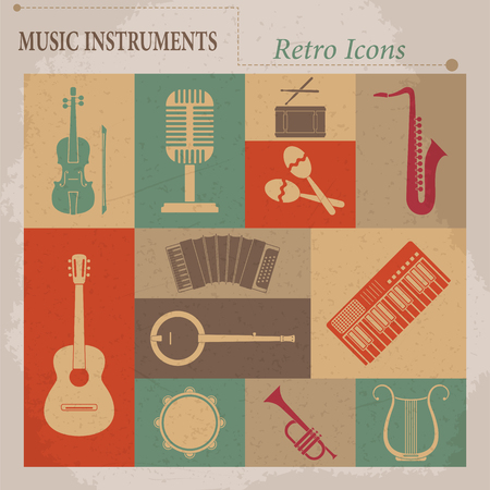 Musical equipment  Retro vector icons 向量圖像
