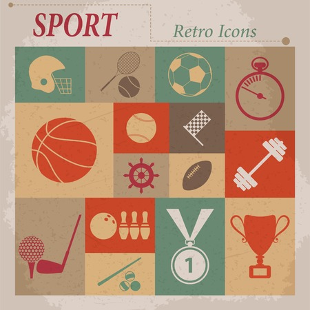 Sport vector flat retro icons Illustration