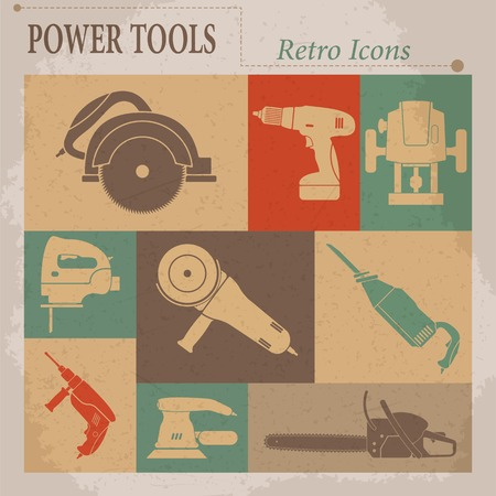 Electric tool flat vector retro icons