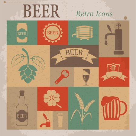 barley hop: Beer Vector Flat Retro Icons