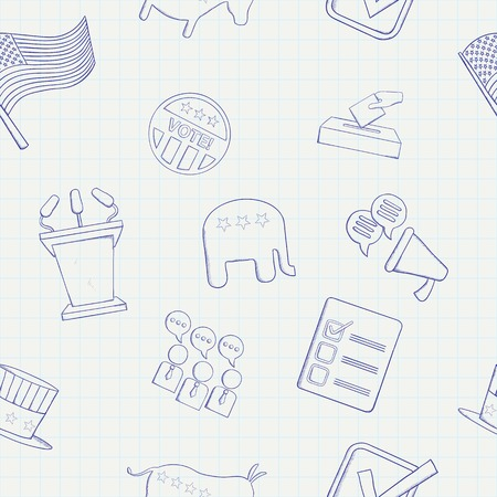 Election hand drawn vector seamless pattern.
