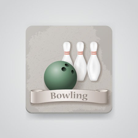 skittles: Skittles and ball for bowling game vector icon.