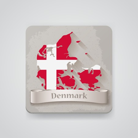 Icon of Denmark map with flag.   Vector