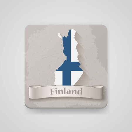 Icon of Finland map with flag.  Illustration