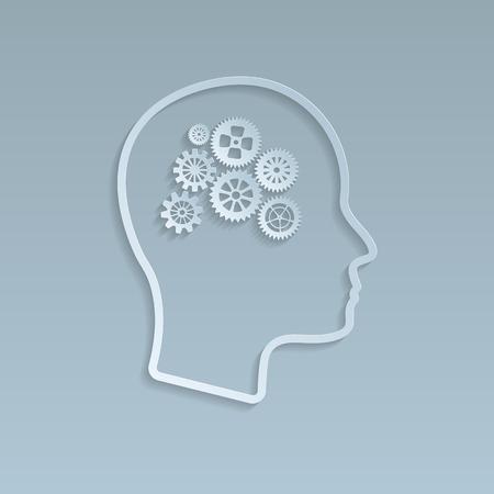 Gears on brain.   Vector