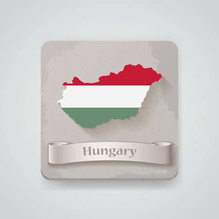 Icon of Hungary map with flag.