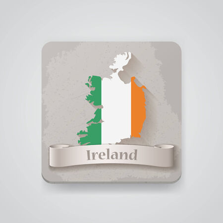 Icon of Ireland map with flag.   Vector