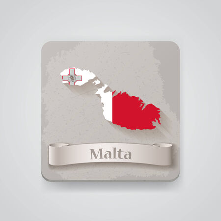 valletta: Icon of Malta map with flag.   Illustration