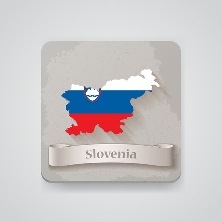 Icon of Slovenia map with flag.
