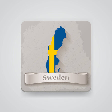 Icon of Sweden map with flag.   Vector
