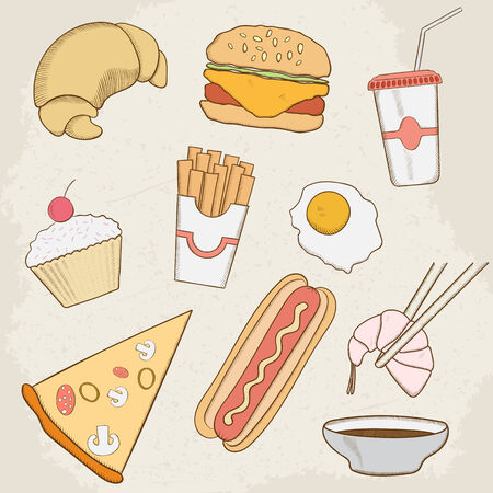 fruitcakes: Food and Drink Vector Hand Drawn Icons.