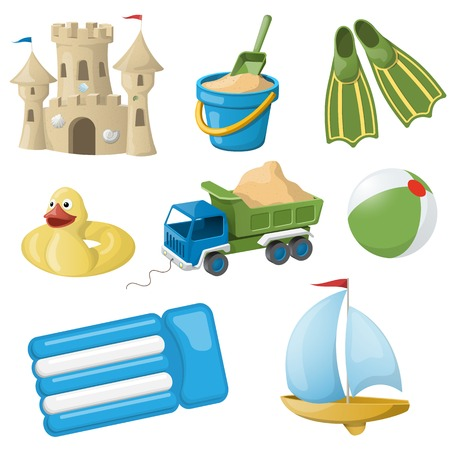 beach bucket: Set of colorful beach toys for kids  Vector illustration EPS10