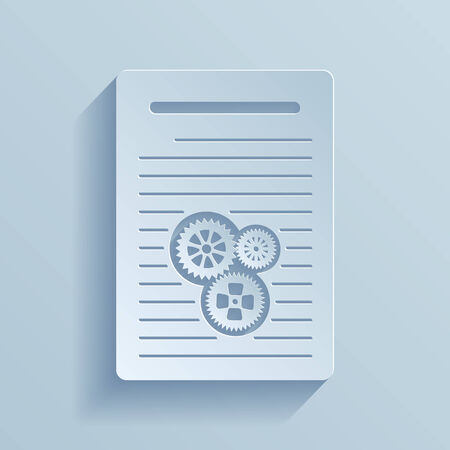 of ratification: Paper icon of document with gears  Vector illustration EPS10