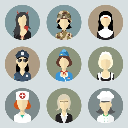 Colorful Women in Uniform. Circle Icons Set. Modern Flat Style Vector