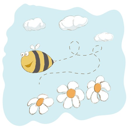 bee on white flower: Cute bee flying around flowers Illustration