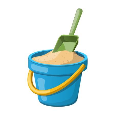 Sand Bucket and shovel. Vector