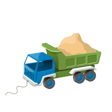 Colorful dump truck toy with sand.  Vector